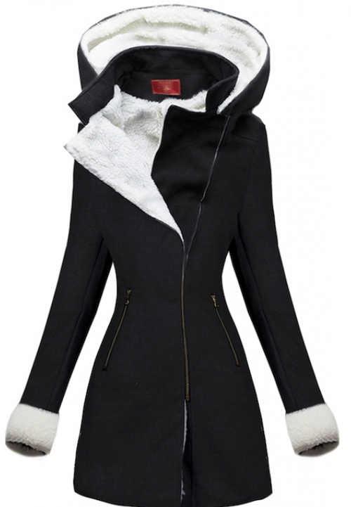 Elegáns fekete téli kabát fehér szőrrel