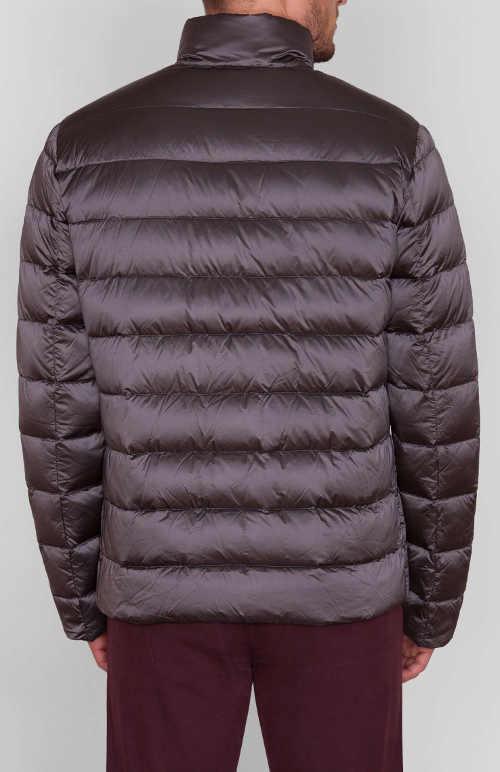 Ezüst fényes férfi téli steppelt kabát