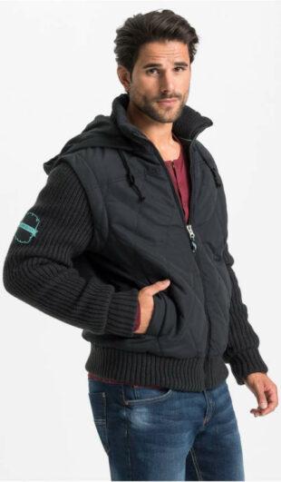 Fekete férfi téli kabát kötött ujjú és alsó szegéllyel