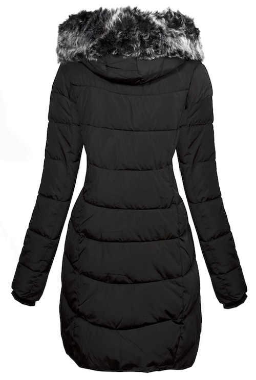 Fekete hosszabbított női téli kabát, szőrrel