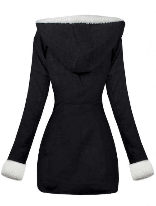 Fekete női téli kabát kapucnival