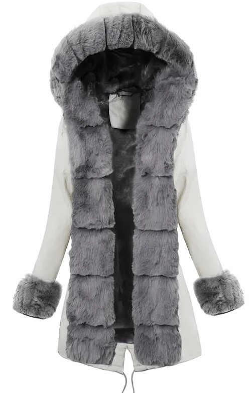 Hosszabb fehér női téli kabát meleg szürke szőrmével