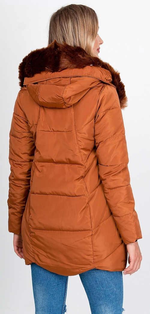 Hosszabbított barna női téli kabát