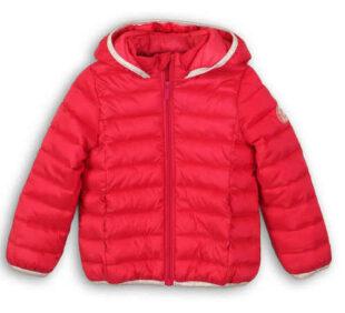 Kedvezményes piros steppelt gyerek téli kabát kapucnival