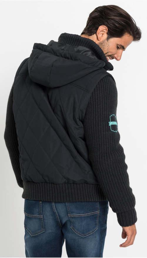 Modern fekete férfi téli kabát Bonprix