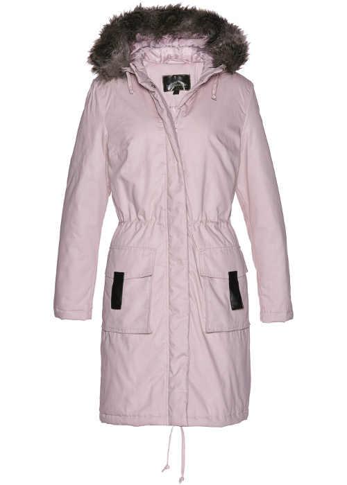 Modern női parketta kapucnival és szőrrel, matt rózsaszín