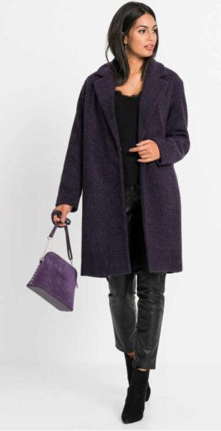 Női kabát gyapjú kivitelben, sötétlila színben