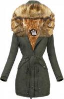 Női téli kabát természetes színű szőrrel