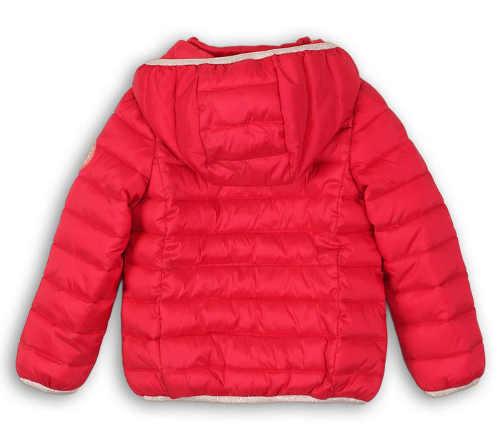 Piros gyerek steppelt téli kabát, nagy kapucnival