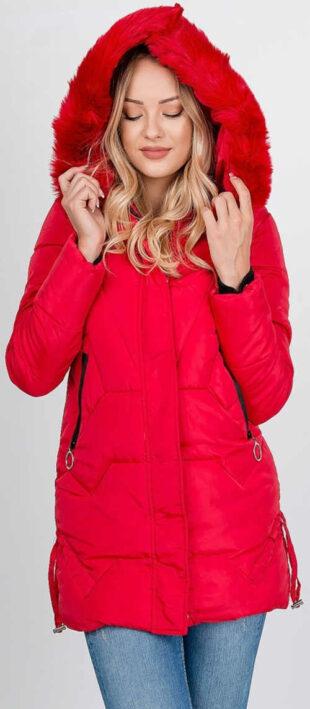 Piros női téli XXL kabát cipzárral és cipzárral