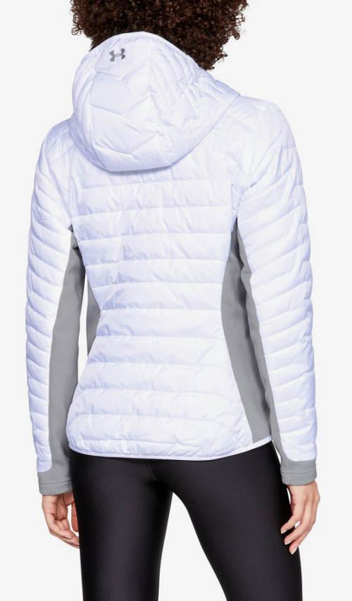Rövid fehér steppelt kabát kapucnival