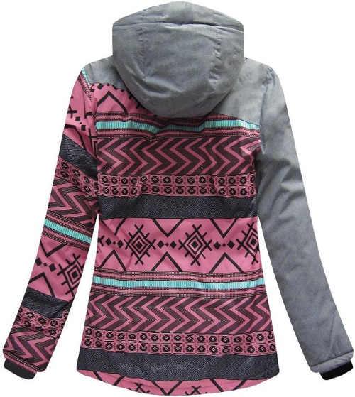 Rózsaszín-szürke vízálló női téli kabát