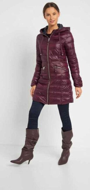 Steppelt női kabát, hosszúságban kapucnival