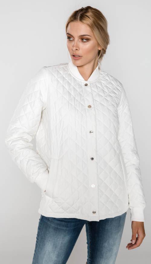 Világosabb fehér steppelt női kabát, Tommy Hilfiger