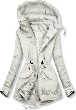 Világosszürke kétoldalas női téli kabát