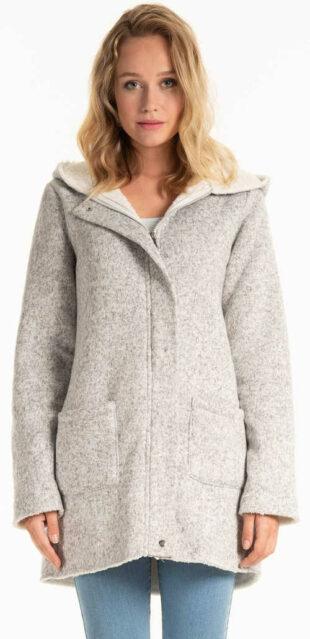 Világosszürke női kabát, plüss béléssel és kapucnival