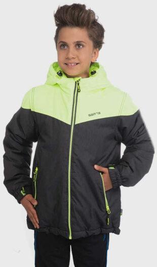 Zöld-fekete gyerekdzseki télire
