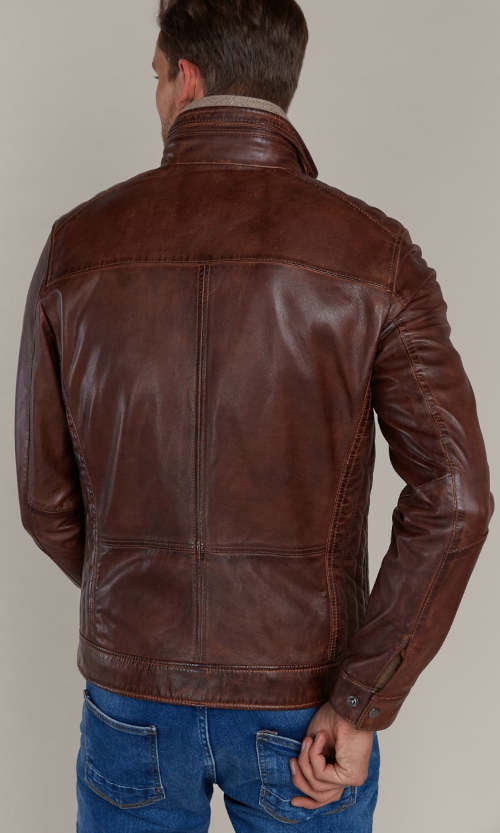 Barna bőr férfi kabát Kara