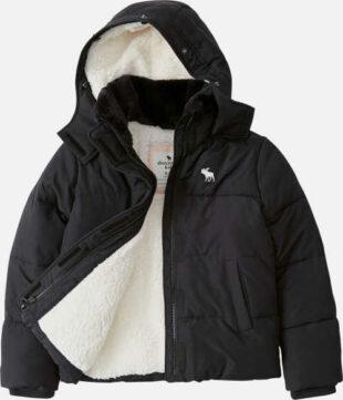 Fekete fiú télikabát fehér belső mackóval