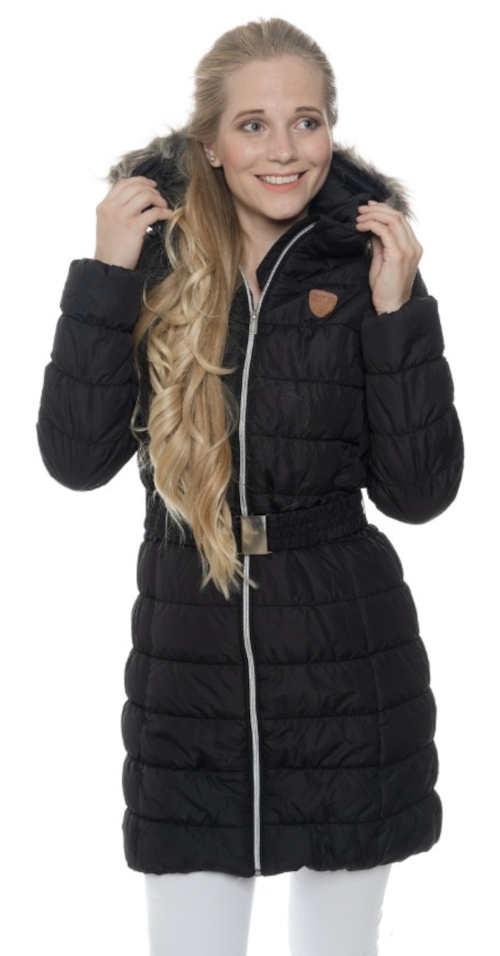 Fekete steppelt, hosszabb női télikabát kapucnival SAM73