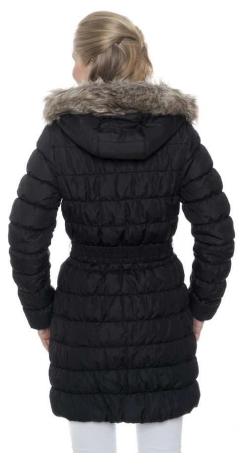 Fekete steppelt női télikabát szőrmével a kapucniján