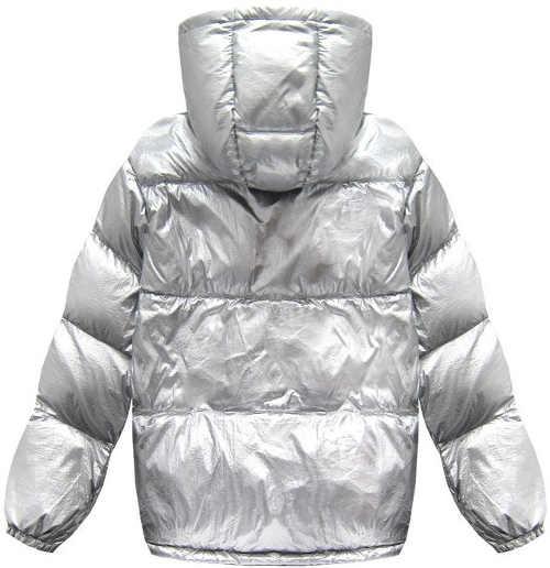 Fényes ezüst női téli kabát derékhosszúságú kabáttal