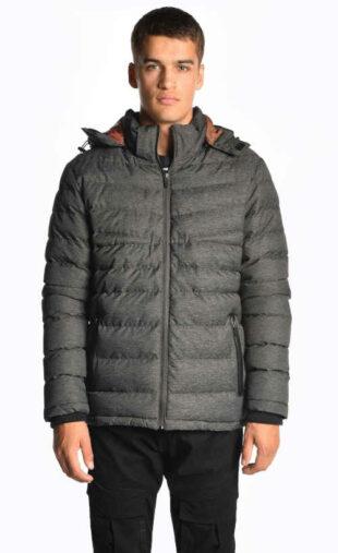 Férfi modern steppelt kabát levehető kapucnival