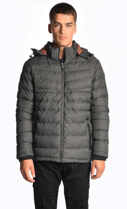 Férfi modern steppelt dzseki levehető kapucnival