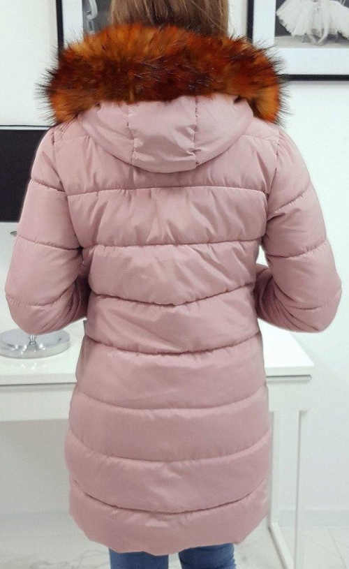 Hosszú meleg rózsaszín steppelt téli parka eladó