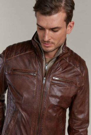 Kognac színű báránybőr kabát kivehető kötött béléssel