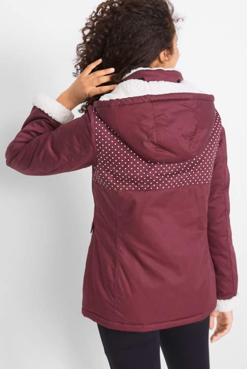 Lila női téli kabát nagy kapucnival