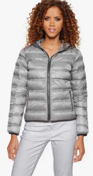 Modern szürke steppelt női kabát Heine pehelytollal