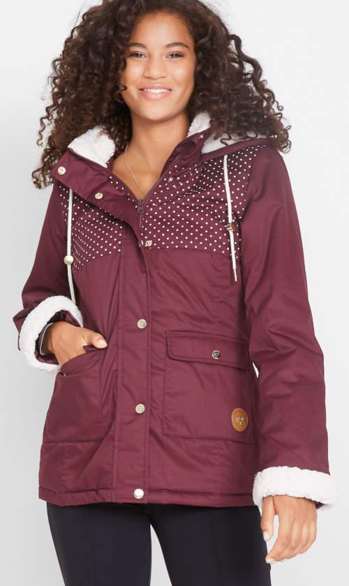 Női bordó kabát meleg gyapjúval