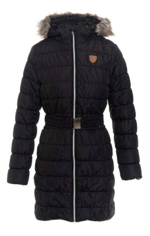 Női hosszabbított fekete steppelt téli kabát övcsatral