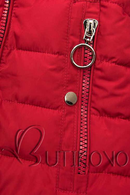 Női modern kabát piros színben