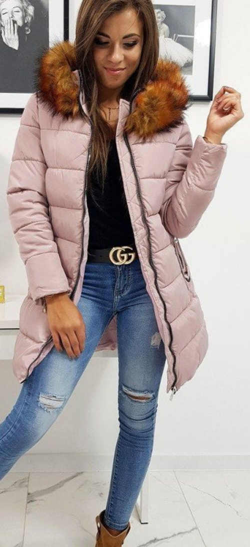 Régi rózsaszínű hosszabbított női télikabát rókával
