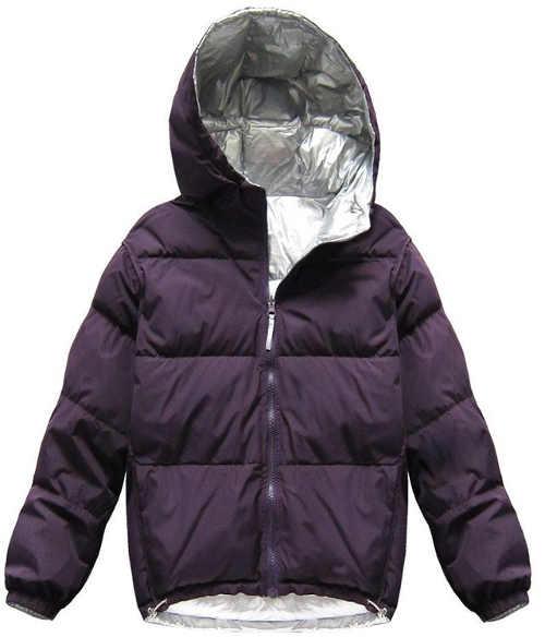 Szilva lila steppelt női téli pehelypaplan kabát