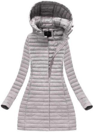 Enyhén bélelt hosszú szürke női téli kabát
