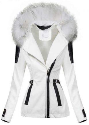 Fehér műbőr női télikabát fekete részletekkel