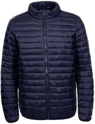 Férfi rövid steppelt kabát sötétkék színben