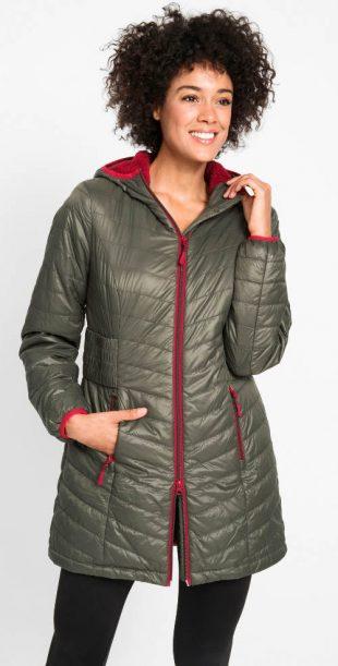 Könnyű, steppelt, bővített női téli kabát