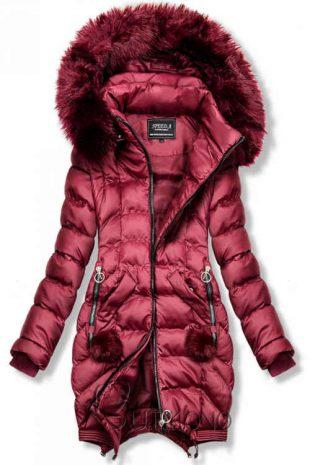 Női bordó steppelt kabát levehető ujjakkal