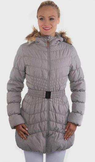 Női steppelt kabát övvel és kapucnival szürke színben