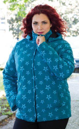 Steppelt téli kabát plus size mérethez csillag motívummal