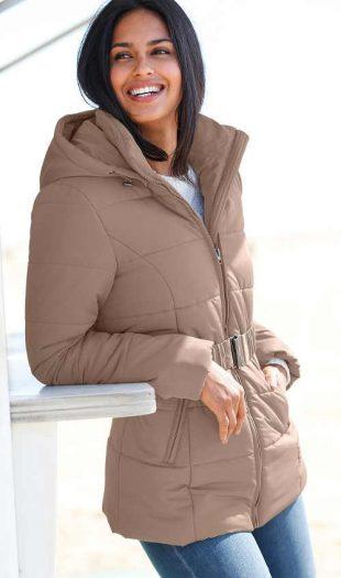 Steppelt téli kabát plus size mérethez övvel
