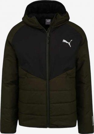 Téli férfi steppelt kabát olívazöld és fekete színben