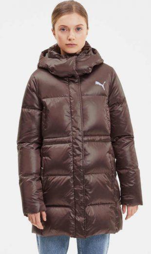 Női divatos steppelt kabát Puma barna színben