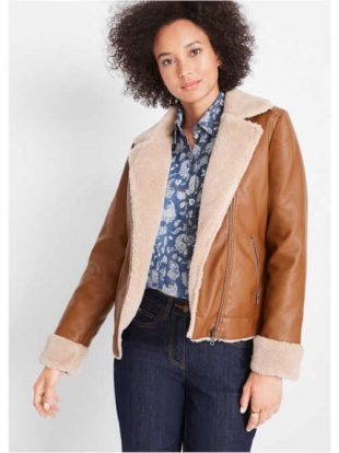 Stílusos rövid műbőr kabát mackó béléssel